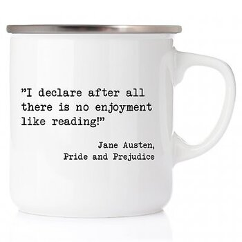 Jane Austen : I declare after all there is no enjoyment like reading! - Emaljmugg med stålkant