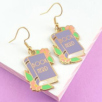Book Nerd : Enamel earrings- örhängen i emalj med krokar i rostfritt stål