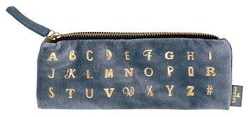 Alfabet : Pennfodral med dragkedja i sammet med alfabet