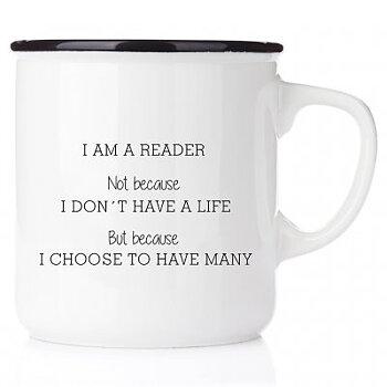 I am a reader : Emaljmugg med svart kant