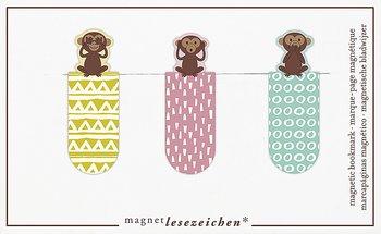 Tre apor : Magnetbokmärken 3 st på kort