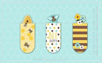 Bee Happy : Magnetbokmärken 3 st på kort