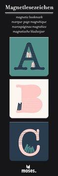 ABC : Magnetbokmärken kvadratiska 3 st på kort