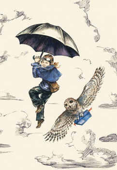 Elise Hurst : Girl and owl - Kort med kuvert