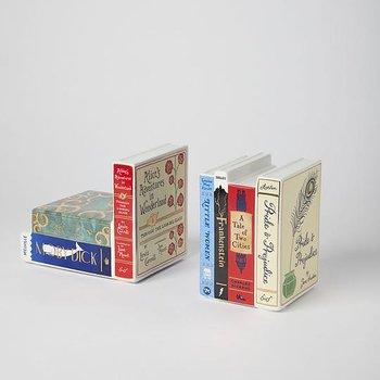 Bibliophile : Ceramic bookends - helt oemotståndliga bokstöd i porslin - set med 2 st unika bokstöd