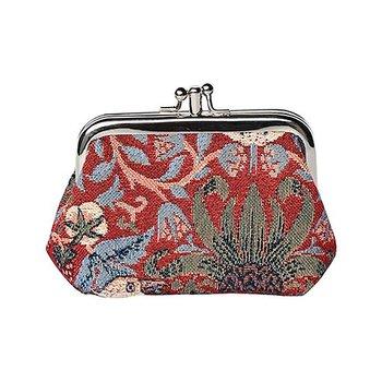 William Morris : Strawberry Thief red Frame Purse - Portmonnä Röd