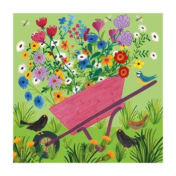 Kay Widdowson : Wheelbarrow Flowers - kort med kuvert