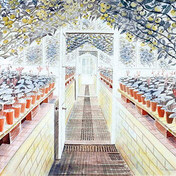 Eric Ravilious : The Greenhouse Cyclamen and tomatoes 1935 - kort med kuvert
