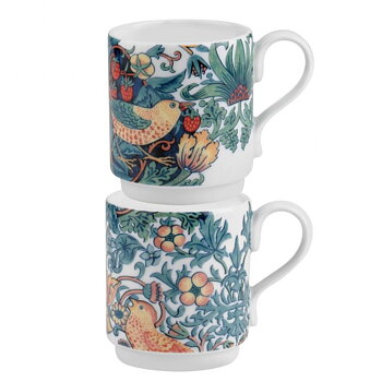 William Morris : Strawberry Thief Spode mugs set- 2 st muggar i box VINTAGE