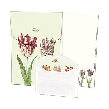 Jacob Marrel : Tulpaner - Brevpappersset med 10 papper och kuvert i matchande mapp