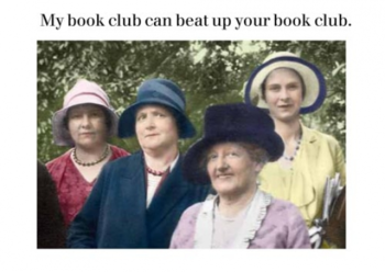 Photocaptions : My book club can beat up your book club - Vykort