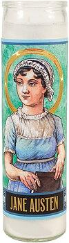 Secular Saints Candle : Jane Austen - Doftljus i glas med bild av Jane Austen