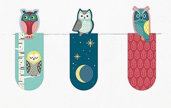 Nattugglor: Magnetbokmärken 3 st på kort