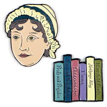 Jane Austen : JA & Books pins