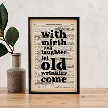 Book Page Print : Shakespeare With mirth and laughter