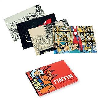 Tintin :  Månen tur och retur - kortask med 16 vykort