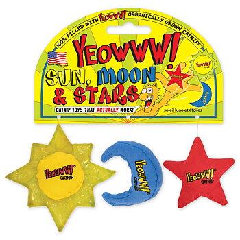 Yeowww kattleksaker 3-p Sol, Måne, Stjärna