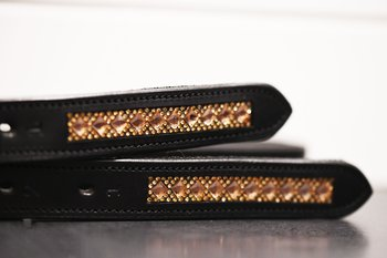 Stirrup Leathers with Swarovski Gold