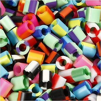 Rörpärlor, 5x5 mm, 2,5 mm, Medium, Ränder, 1100 Mix 1 Förp.