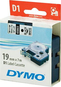 DYMO D1 märktejp standard 19mm, svart på vitt, 7m rulle