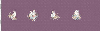 PANEL- GARDEN BUNNIES - DARK PLUM