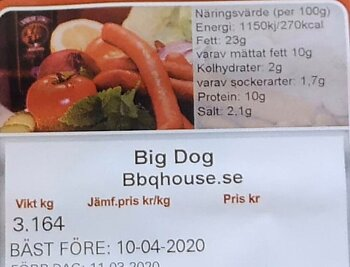 Big Dog Grillkorv 1.2  kg. Fryst