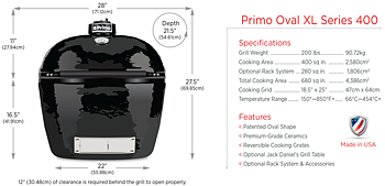 Primo Oval XL 400.  Keramisk grill.