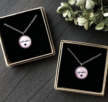 "Necklace  ""Little Sister & Big Sister"" steel"