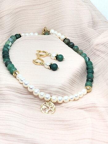 Unik halsband set med agat och sötvattenpärlor