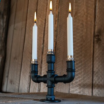 Candle holder Tritus matte-black - 3 candles (DIY)