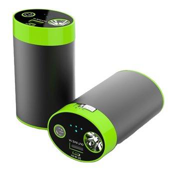 Powerbank 8800 mAh med handvärmare och ficklampa - Black/Green