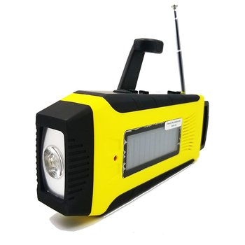 Vevradio med solceller & 2000 mAh powerbank - Signalgul