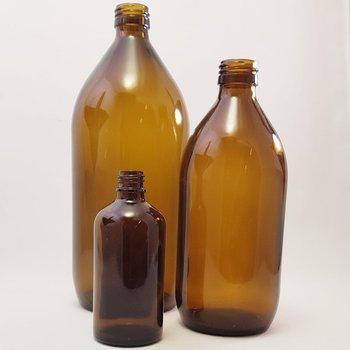 Tomma glasflaskor, 100 ml, 500 ml eller 1000 ml med kork eller pump