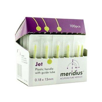 Akupunkturnål med plasthandtag och införingshylsa,  JET från Meridius 0,12*30 mm, 100 st