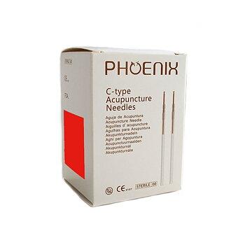 Phoenix akupunkturnål med kopparskaft, styckpackad med hylsa, 0,30*100 mm, 100 st