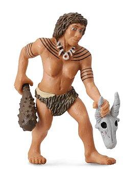 Neandertalare - kvinna med klubba & skalle