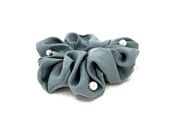 Charisma Hair Accessories Pearl Scrunchies Jade Grey