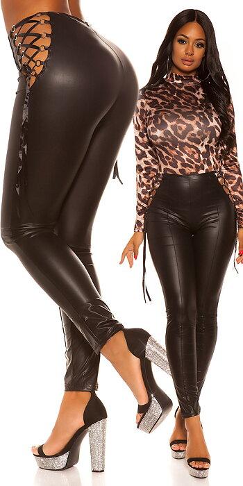 koucla WITH LACING wetlook pants