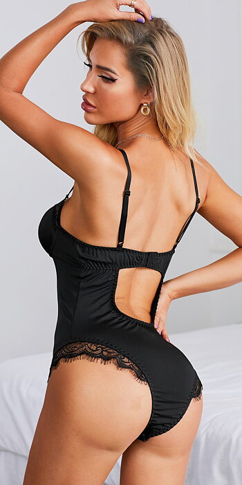 Backless Black Teddy