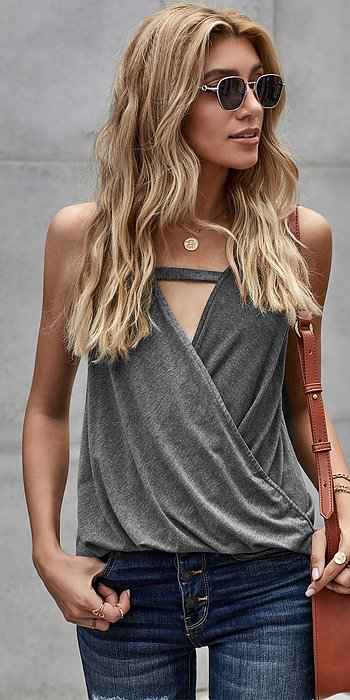 Gray Wrap Front Tank Top