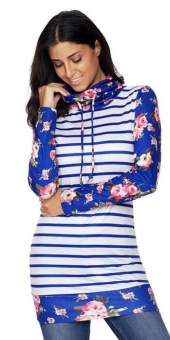 Navy Striped Hoodie Sweatshirt