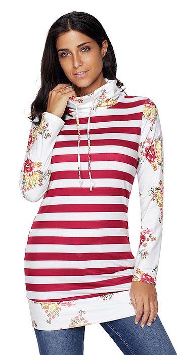 Burgundy Striped Hoodie Sweatshirt