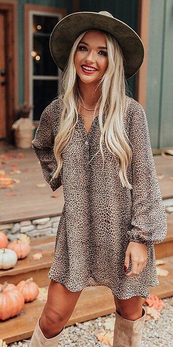 Leopard Flowy Klänning
