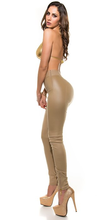 koucla HIGHWAIST LEATHERLOOK wetlook pants