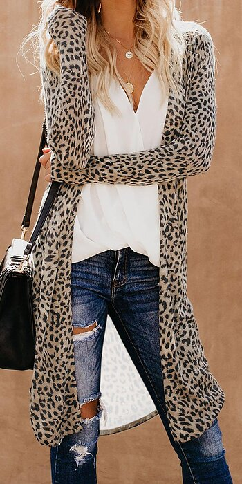 CREAM Leopard Print Long Cardigan