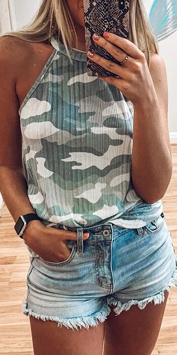 Green Camo Tank Top