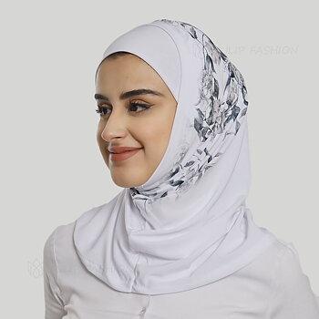 Hijab Al Amira - Printed Lycra - Vit