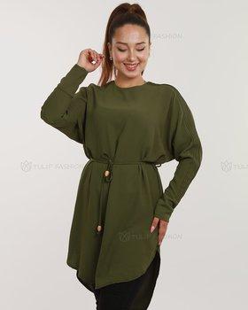 Sänkt axelsöm tunika - Olivgrön