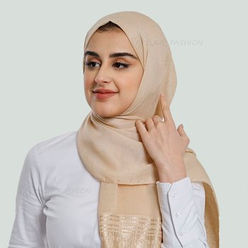 Hijab - Light Pashmina Flower - Beige