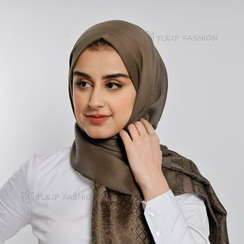 Hijab - Light Pashmina Flower - Kakao Brun